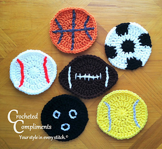 Crochet Pattern For Sports Blanket : Ravelry: Sports Ball Coasters pattern by Crocheted Compliments