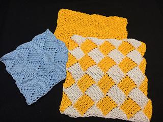 Entrelac Knitting Dishcloth Pattern : Ravelry: Entrelac Dishcloth - Two Ways! pattern by Tina Robbins