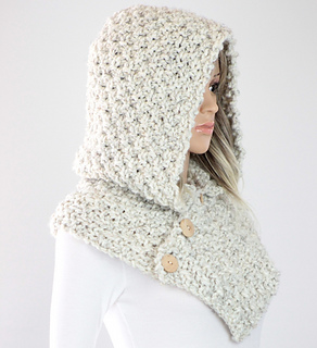 Ravelry: Oslo Knit Hooded Cowl Scarf #25 pattern by Kyoko - Cali Chic Patterns