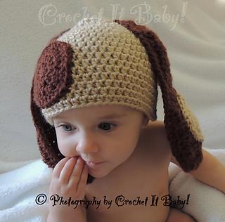 Ravelry puppy dog hat 4 sizes pattern by crochet it baby - Puppy dog crochet hat pattern ...