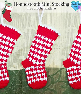 Free Crochet Patterns For Mini Christmas Stockings : Ravelry: Houndstooth Mini Stocking pattern by Erangi Udeshika