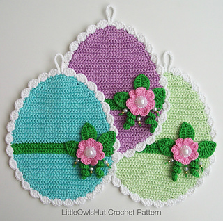Ravelry: 066 Easter Eggs potholder pattern by LittleOwlsHut