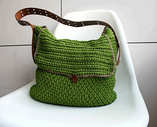 Small Bag Crochet Pattern : ... : Leather handle carry all crochet purse 178 pattern by Luz Mendoza