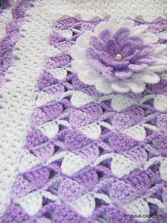 Ravelry Beautiful Lilac Baby Blanket With Flower Pattern