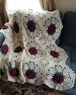 Crochet Pattern Rose Trellis Afghan : Ravelry: Pineapple Rose Afghan pattern by Maggie Weldon