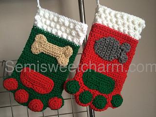 Ravelry Paw Print Stocking For Christmas Dog Cat Pet