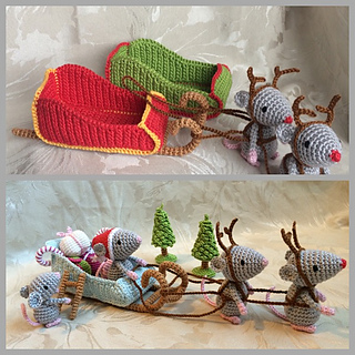 ravelry christmas mice santa 39 s sleigh pattern by uljana. Black Bedroom Furniture Sets. Home Design Ideas