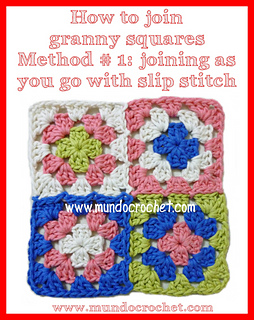 Ravelry how to join granny squares as you go with slip - Cuadrados de ganchillo granny squares ...