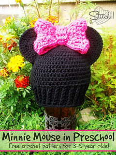 Minnie Mouse Crochet Hat Pattern Child : Ravelry: Minnie Mouse in Preschool. pattern by Corina Gray