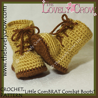 Free Crochet Pattern For Baby Construction Boots : Ravelry: Little ComBrat Combat Boots pattern by Elizabeth Alan