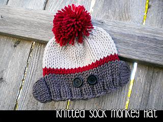 Sock Monkey Booties Knitting Pattern Free : Ravelry: Knitted Sock Monkey Hat pattern by Janet Jameson