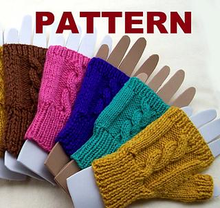 Fingerless Gloves Knitting Pattern Ravelry : Ravelry: Cable Knit Fingerless Mittens pattern by Claudia Lowman