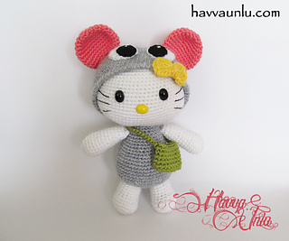 Lion Crochet Pattern Amigurumi : Ravelry: Hello Kitty in Mouse Costume (Amigurumi, Crochet ...