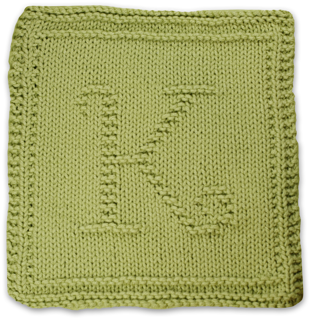 Knitted Alphabet Dishcloth Patterns : Ravelry: Monogrammed Dishcloth Letter K pattern by Heather ...