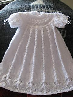 Free Knitting Pattern Baby Christening Gown : Ravelry: Cabled Yoke Christening Gown pattern by Judy Lamb