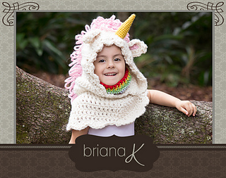 Crochet Unicorn Hooded Scarf Pattern : Ravelry: Unicorn Hooded Cowl pattern by Briana K Crochet