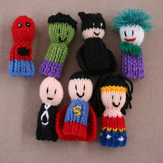 Knitting Patterns For Finger Puppets Free : Ravelry: 7 Superhero finger friends Finger Puppets pattern by Amalia Samios