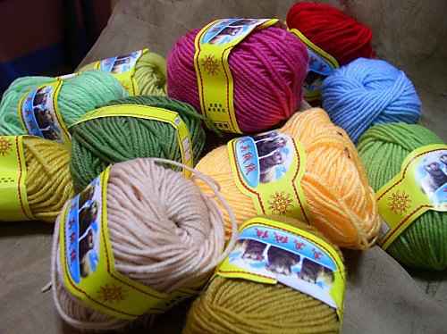 Colorful acrylic yarn from China.