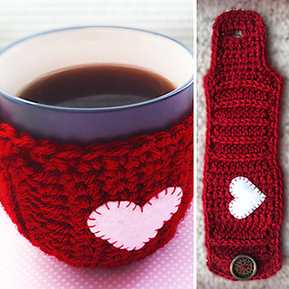 Ravelry valentine 39 s day mug cozy pattern by rebecca langford for Cup cozy pillow