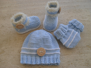 Knitting Patterns For Baby Mittens And Booties : Ravelry: Baby Boy Booties Beanie Mittens pattern by Marilyn Ireland