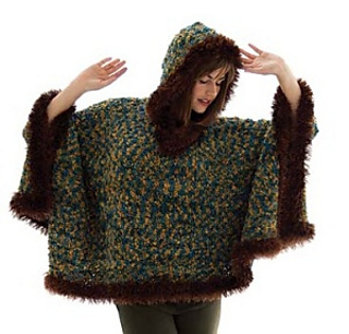 Ravelry: Fur Trimmed Boucle Poncho pattern by Lion Brand Yarn