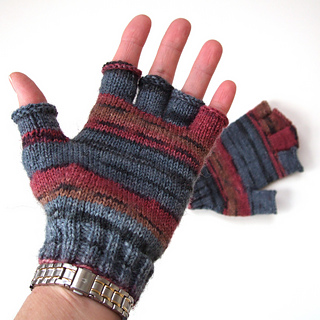 Knit Pattern Gloves Sock Yarn : Ravelry: Sock Yarn Fingerless Gloves pattern by Wendy Easton